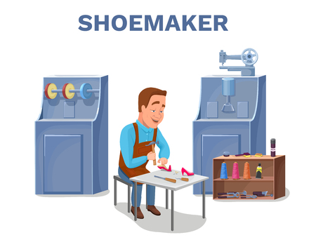awl: Cobbler cartoon character repairing shoes with shoemaker tools c Stock Photo