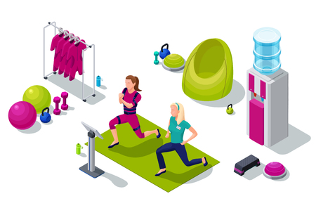 Isometric ems fitness studio with girl and personal trainer doing electrical muscular workout and sports equipment. Vector illustration