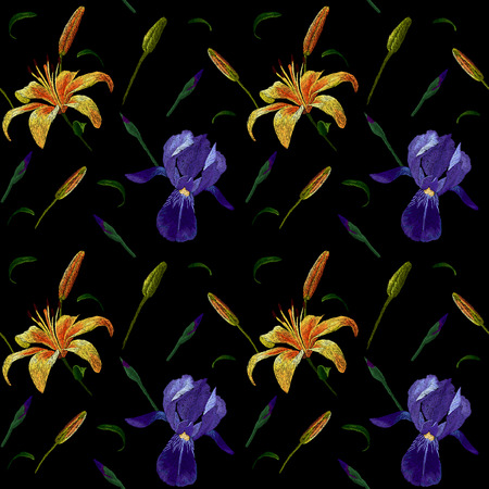 Embroidery seamless pattern fashion design with yellow and blue iris and lily stitched floral illustration Stock Photo