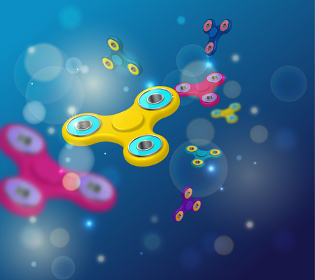 Fidget spinnerdark blue background with colorful 3d icons of mod Illustration