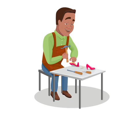 Shoemaker cartoon character indian black haired worker repairing shoes with hammer vector illustration