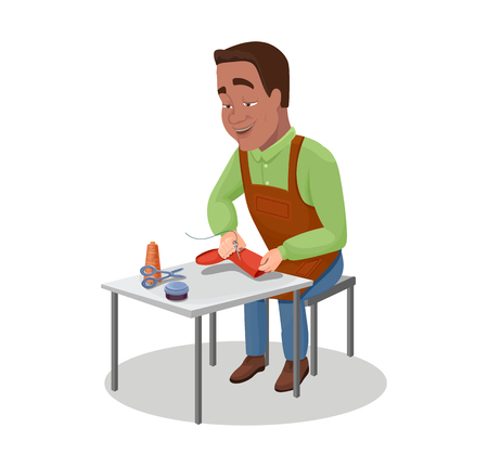 Shoemaker cartoon character indian black haired worker sewing shoes with needles and threads vector illustration Stock Photo