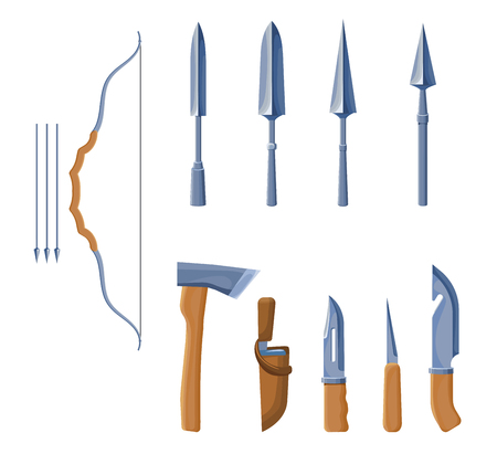 Cold steel arms set with color icons of steel knife, spear, arrow, ax, bow, arrow vector illustration Ilustração