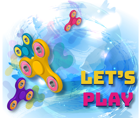 Fidget spinner watercolor blue background with colorful 3d icons of modern rotating toys vector illustration