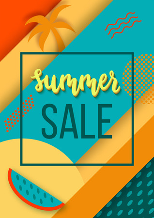 Sale summer background or poster in trendy 80s-90s memphis style