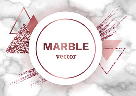 Marble poster template or background in trendy minimalist geometric style with stone, foil, glitter, metallic textures, triangles vector illustration