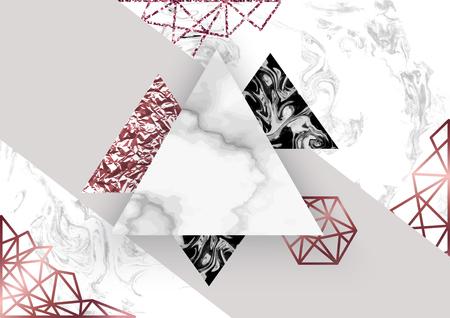 Rosafarbener Marmorhintergrund in der modischen unbedeutenden geometrischen Art mit Stein, Folie, Funkeln, metallischen Beschaffenheiten, Dreiecken, Schablone für Plakat, Einladung, Tapete