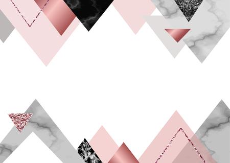 石、箔、ラメ、金属テクスチャ、三角形、ポスター、招待状、壁紙用のテンプレートとトレンディなシンプルな幾何学的なスタイルの大理石のバラ背景