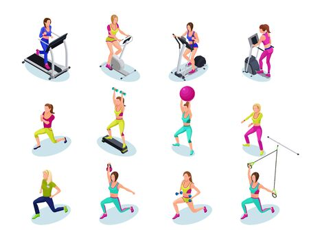 Isometric fitness people set, girls running, weight lifting, with barbell, dumbell, on step platform, with fit ball, doing exercises, gymnastics, cardio training, athletics, workout with trainer Illustration