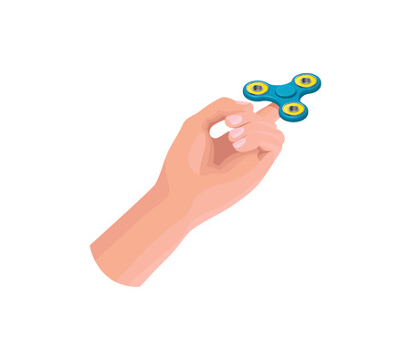 Hand holding, playing and making tricks with fidget spinner, iso