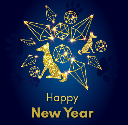 2018 黄金ベクトル足トラック、キラキラや他の黄色い犬概念の旧正月。  イラスト・ベクター素材