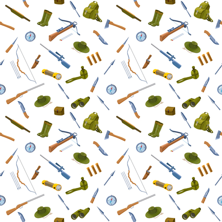 cap hunting dog: Hunting background seamless pattern with equipment, guns, hat, compass, crossbow, bow, arrows, bullet, knife, spear, rubber boots, rucksack, flashlight vector illustration