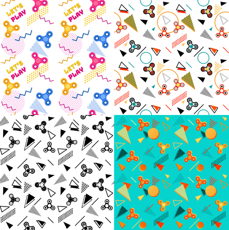 spinning: Fidget spinner seamless geometric patterns set or background with colorful icons of modern rotating toys vector illustration Illustration