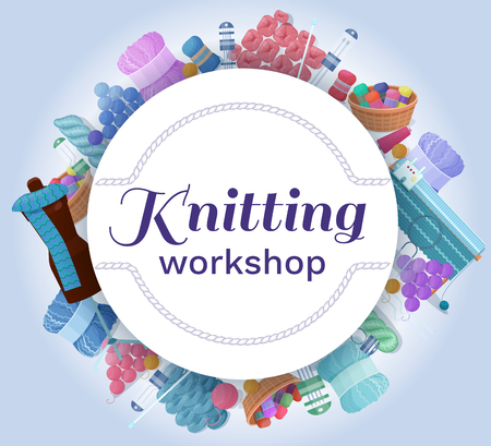 Knitting or handmade workshop vector banner or background with needlework and handicraft accessories, crafts icons isolated, good for wool or hobby shop
