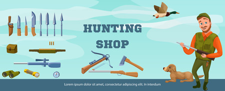 cap hunting dog: Hunter shop banner of flyer template with cartoon character, dog Illustration