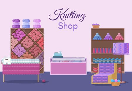Wool shop interior template with yarn skeins, crafts icons isolated, knitting tools, machine and handmade hobby accessories in flat style vector illustration