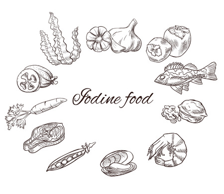 Iodine food vector sketch set, icons with black contour, medicine infographics or diet concept, persimmon, feijoa, sea bass, milk, carrot, garlic, walnut, salmon steak, pea, mussel, shrimp, seaweed Stock Photo