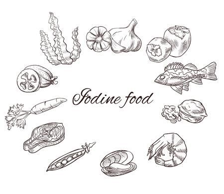 Jodium eten vector schets set, pictogrammen met zwarte contour, geneeskunde infographics of dieet concept, persimmon, feijoa, zeebaars, melk, wortel, knoflook, walnoot, zalm steak, erwt, mossel, garnalen, zeewier