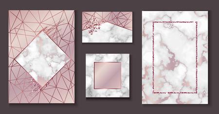 대리석 브로셔 레이아웃, 결혼식 초대장 세트, 명함 서식 파일 또는 유행 미니멀리즘 형상 스타일, 돌, 화강암, 골드 장미 질감, 벡터 패션 벽지, 포스터