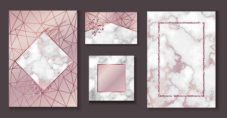 Marble brochure layout, wedding invitation set, business card template or background in trendy minimalistic geometric style, stone, granite, gold rose texture, vector fashion wallpaper, poster, cover Illusztráció