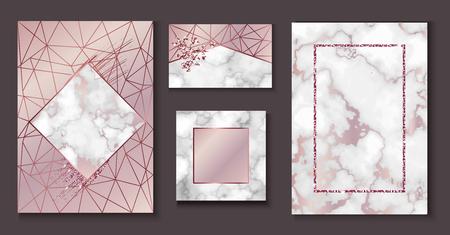 Disposition de brochure de marbre, ensemble d'invitation de mariage, modèle de carte de visite ou fond dans un style géométrique minimaliste à la mode, pierre, granit, texture de rose d'or, papier peint de mode de vecteur, affiche, couverture
