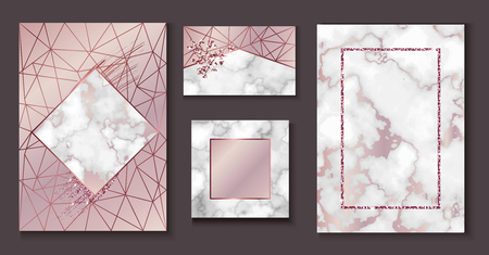 Marble brochure layout, wedding invitation set, business card template or background in trendy minimalistic geometric style, stone, granite, gold rose texture, vector fashion wallpaper, poster, cover Stock Photo
