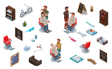 3d isometric people and barber shop interior constructor, hairdresser cutting hair, shaving, characters set, collection for hipster hair salon, beauty studio, wood furniture, barbershop accessories Illustration