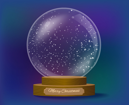 Snowglobe christmas gift with wooden base vector illustration Vetores