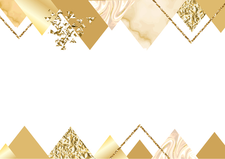 Golden invitation or brochure, banner, marble background in trendy minimalistic geometric style with triangles, gold lines, textures, granite, glitter, frame, vector fashion wallpaper, poster
