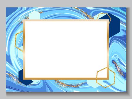 Hochzeitseinladungshintergrund, Marmorbroschüre, blaue Farbschablone im modischen minimalistic geometrischen Stil, mit Stein, Granit, Beschaffenheiten, Vektorplakat Standard-Bild - 86169531
