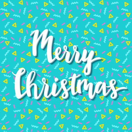 christmas backdrop: Merry christmas geometric greeting card in trendy memphis 90s style with triangles, lettering, colorful party background or invitation template, banner, cover, vector illustration
