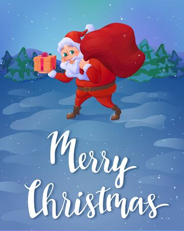 christmas postcard: Santa claus sneaking with a gift in his hand and carrying sack of gifts, winter holidays greeting card with christmas cartoon character and lettering, vector illustration
