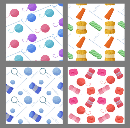 A vector illustration with woolen colorful yarn skeins for knitting. Illustration