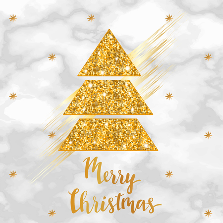 Merry Christmas golden marble poster or background, party invitation template with glitter, metal foil texture, lettering, winter holidays celebration banner, trendy vector illustration Illustration