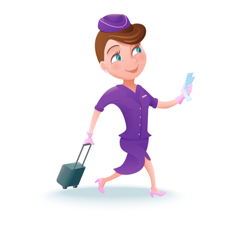 Stewardess cartoon character, airline crew member, cute girl in violet uniform, vector illustration