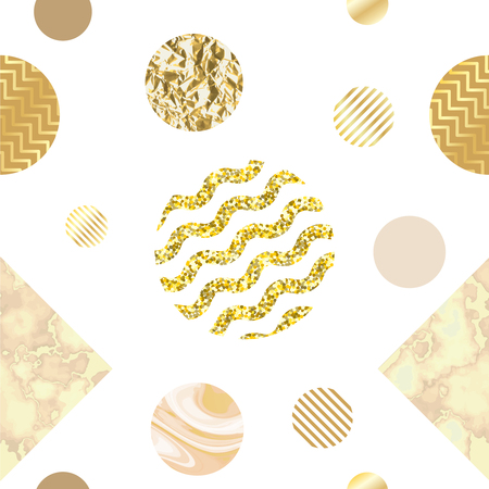石、箔、ラメ、金属テクスチャ、三角形、ポスター、招待状、壁紙用のテンプレートとトレンディなシンプルな幾何学的なスタイルの黄金の大理石