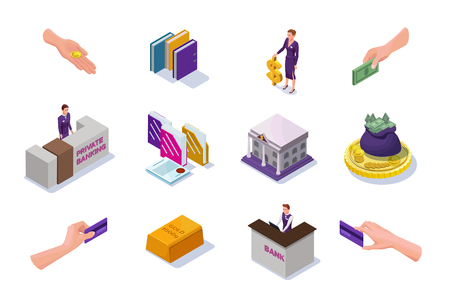 Banking and finance icons set with isometric people, office reception desk, cash money, coins, banknotes, bank building, 3d vector illustration