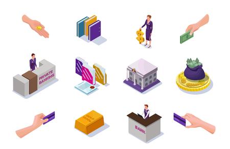 Los iconos de banca y finanzas con personas isométricas, escritorio de recepción de oficina, dinero en efectivo, monedas, billetes, edificio de banco, ilustración vectorial 3d Foto de archivo - 87467268
