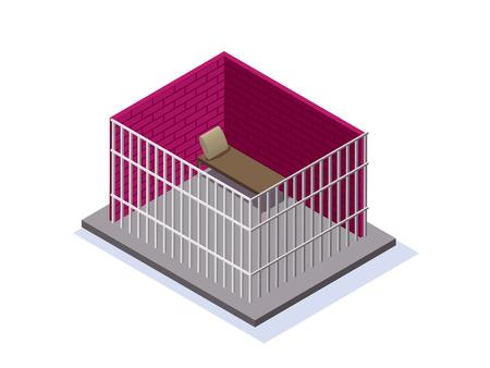 prison facility: Prison or jail isometric 3d vector illustration