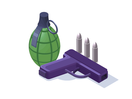 Grenade, pistol, bullets colorful isometric 3d vector illustration, modern weapon icons isolated