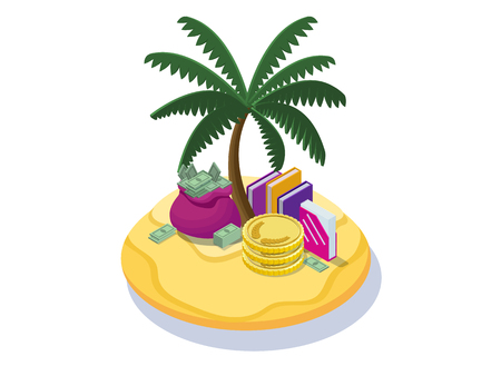 Offshore company concept with money banknotes, coins on tropical island with palm and dollar sign, folders with documents, financial fraud poster, isometric 3d vector illustration Stock Photo