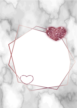 Minimalist background with geometric shapes, lines, romantic concept, marble texture, template in trendy minimalistic style, heart silhouette, gold rose glitter, frame, vector wallpaper
