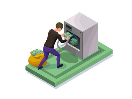 Concepto de fraude financiero, Ilustración isométrica.