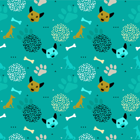 Dog new year seamless pattern in trendy geometric scandinavian minimal style with vector paw track, animal head silhouette, chinese 2018 calendar template, holiday invitation background