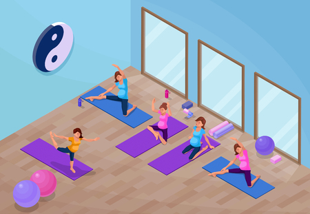 Yoga studio interior with pregnant woman doing physical fitness exercise, isometric 3d vector illustration with sport training, relaxation and meditation poses collection
