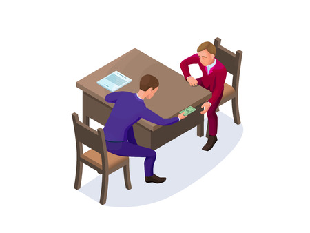 Bribery concept with businessman gives money as a bribe, isometric vector illustration of corruption, financial fraud, crime Illustration