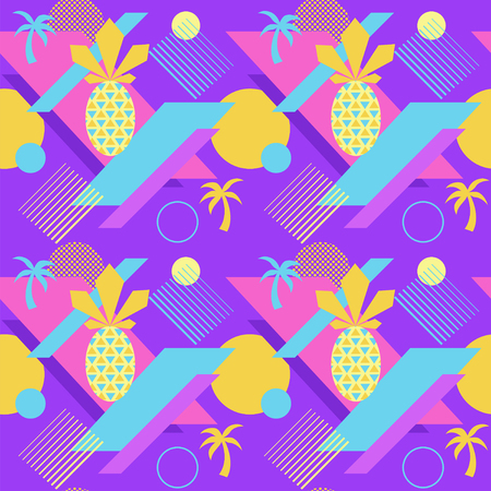 Seamless color summer pattern with pineapple and palm, trendy geometric style vector background, bright fashion wallpaper