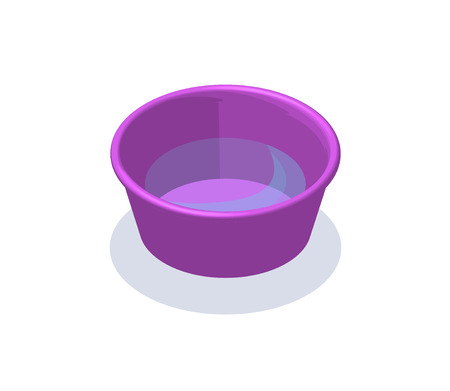 Water bucket isometric 3d vector illustration with washing equipment, container or basin with water