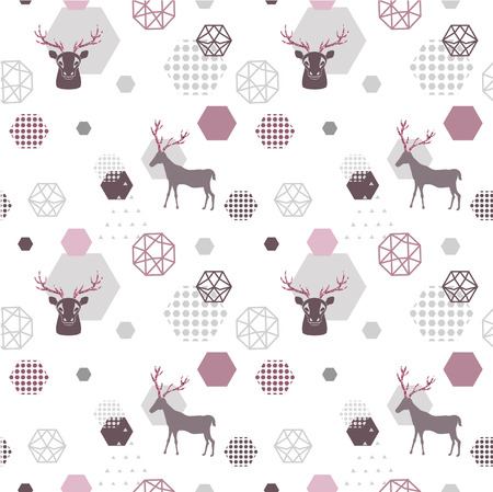 Reindeer geometric trendy seamless pattern with animal silhouette, winter holidays scandinavian minimal pattern, invitation vector background