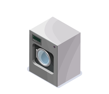 Washing machine isometric 3d vector illustration, laundry or dry cleaners appliance, isolated icon